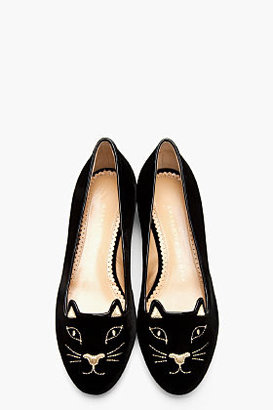 Charlotte Olympia Black velvet and gold Embroidered Kitty flats