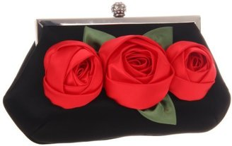 La Regale Red Flower Clutch On Frame 25359 Clutch