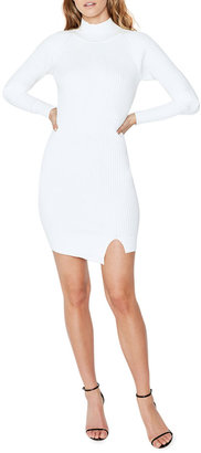 Bardot Ribbed-Knit Mock-Neck Mini Dress