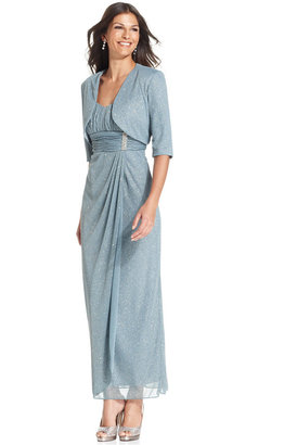R & M Richards R&M Richards Sleeveless Glitter Faux-Wrap Gown and Jacket