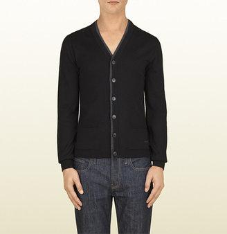 Gucci Black Fine Merino Wool And Silk V-Neck Cardigan