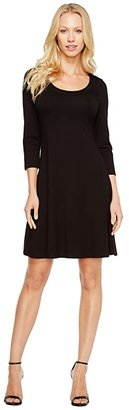 Karen Kane 3/4 Sleeve A-Line Dress (Black) Women's Dress