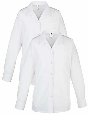 AG Jeans Unbranded Alleyn's Lower and Middle School Girls' Open Neck Blouse, Pack of 2, White
