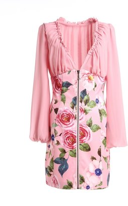 Couture Comino London Dusky Pink Floral Long Sleeve Mini Dress