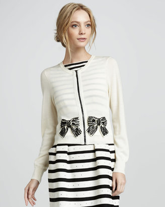 Nanette Lepore Pearl River Beaded-Bow Cardigan