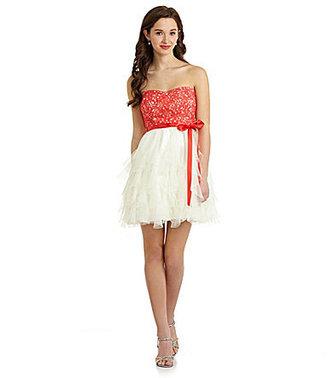 B. Darlin Sweetheart Lace Corkscrew Dress