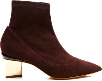 Nicholas Kirkwood Stretch-Suede Platino Ankle Boots