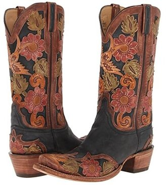 Lucchese L4690.S53 (Black Tooled Eden) Cowboy Boots