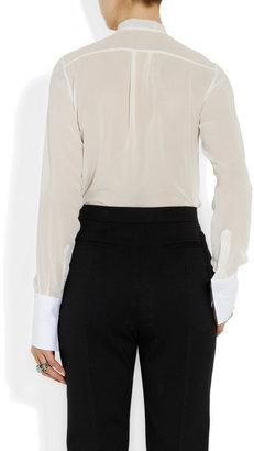 Valentino Silk-georgette and cotton-piqué blouse