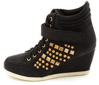 Charlotte Russe Studded Lace-Up Wedge Sneaker