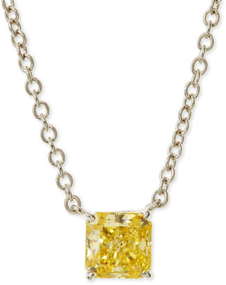 FANTASIA Square-Cut Canary Pendant Necklace