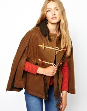 Gloverall Trench Cape In Oil Wax - Tan