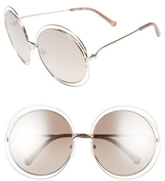 Women's Chloe 62Mm Oversize Sunglasses - Gold/ Clear Brown $396 thestylecure.com