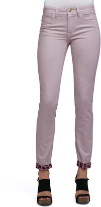 Just Cavalli Leopard-Cuff Skinny Jeans, Light Violet