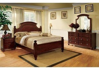 Furniture of America Brah Transitional Cherry 4-piece Bedroom Set