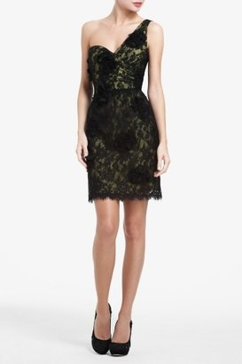 BCBGMAXAZRIA Jennifer One-Shoulder Floral Lace Dress