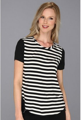 Vince Camuto Woven Back Stripe Tee (New Ivory) - Apparel