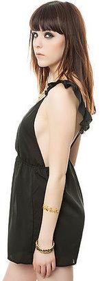 Reverse The Flutter Sleeve Playsuit in Black