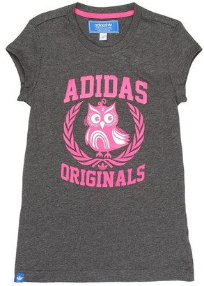 adidas Kids - Owl Tee (Big Kids) (Dark Grey Heather) - Apparel