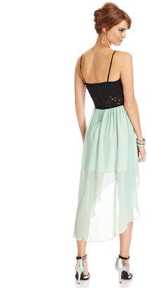 Trixxi Juniors Dress, Spaghetti Strap Lace Chiffon High-Low