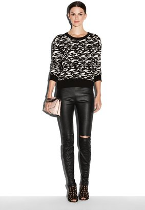 Milly Leather Slit-Knee Pant