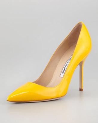 Manolo Blahnik BB Patent Pointed-Toe Pump, Yellow