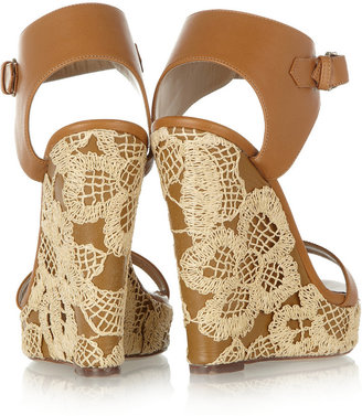 Valentino Lace-covered leather wedge sandals
