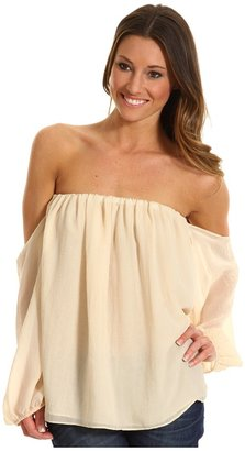 T-Bags Tbags Los Angeles - Cutout Long Sleeves Chiffon Tube Top (Beige) - Apparel