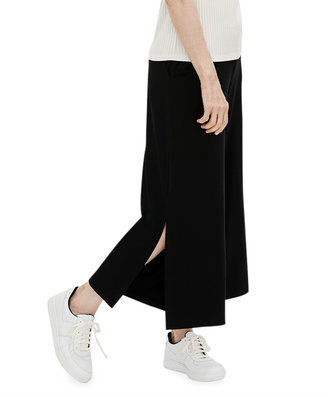 Eileen Fisher Lyocell Jersey Wide-Leg Cropped Pants w/ Side Slits