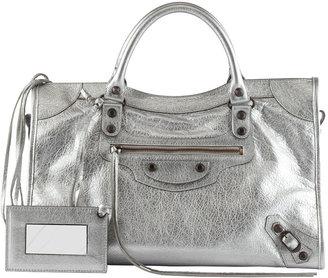 Balenciaga Classic Metallic City Bag, Silver