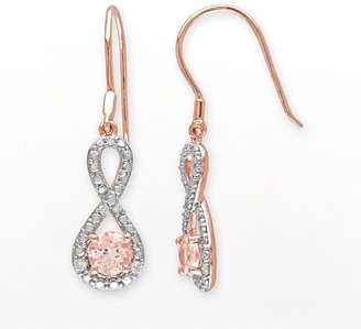 Rose rhodium-plated sterling silver morganite & 1/10-ct. t.w. diamond infinity drop earrings