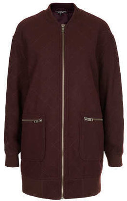 Topshop Tall Quilted Longline Bomber Jacket