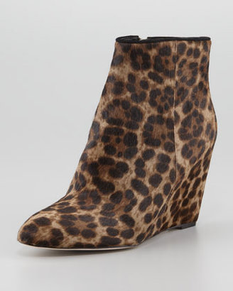 Brian Atwood Bellaria Calf Hair Wedge Bootie, Taupe Leopard