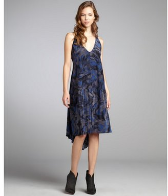 Marc by Marc Jacobs indigo printed silk 'Gaia' sleeveless dress