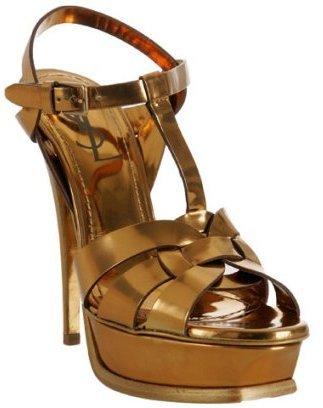 Yves Saint Laurent dark gold leather 'Tribute' platform sandals