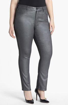 NYDJ 'Sheri' Foiled Stretch Skinny Jeans (Plus Size)