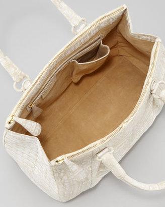 Nancy Gonzalez Executive Double-Zip Crocodile Tote Bag, White