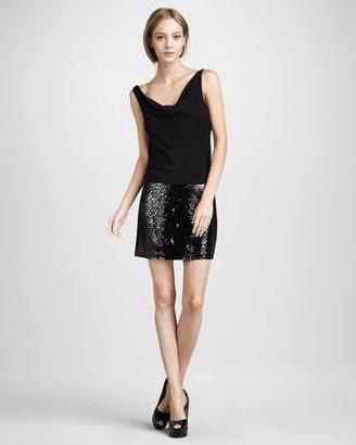 Diane von Furstenberg Tadd Sequin-Skirt Dress, Black
