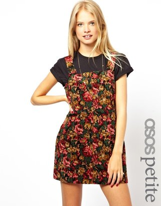 Asos Exclusive Pinafore Dress In Floral Cord