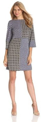 Isaac Mizrahi Women's Boat Neck Print Block Bell Sleeve Knit Dress