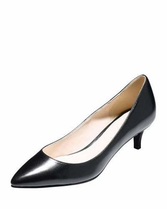 Cole Haan Juliana Low-Heel Leather Pump, Black $148 thestylecure.com