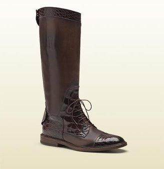 Gucci Redoute Crocodile Tall Boot