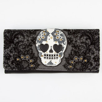 Loungefly Paisley Flocked Skull Wallet