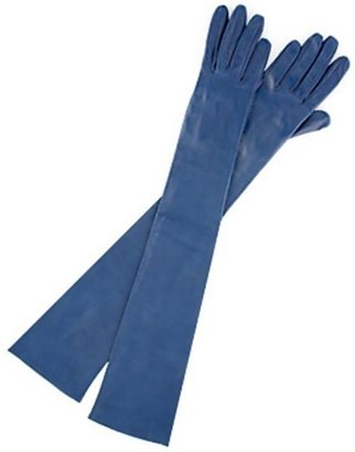 Carolina Amato Opera-Length Leather Gloves, Blue
