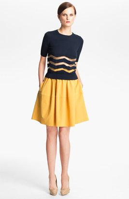 Carven Stripe Knit Sweater Blue Large
