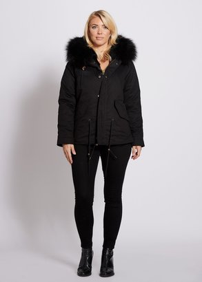 Popski London Popski London Black Fur Lined Parka Jacket With Black Raccoon Collar