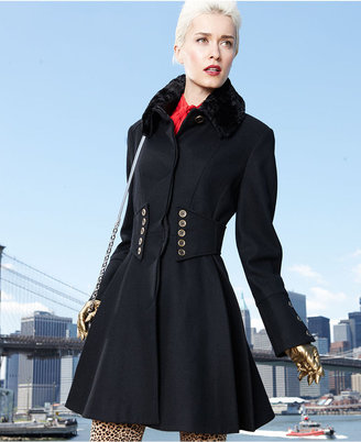 Betsey Johnson Coat, Faux-Fur Corset Flared