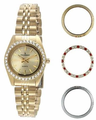 Peugeot Watches Women's 4 Interchangeable Bezel Gold-tone Dial Watch Set - Gold
