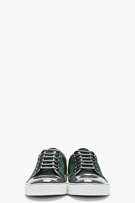Lanvin Forest green patent and suede tennis shoes