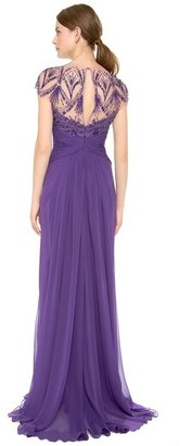 Monique Lhuillier Embroidered Jewel Neck Draped Gown